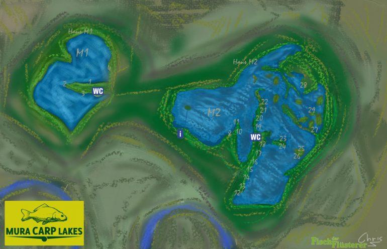 Revierkarte Mura Carp Lakes 2016
