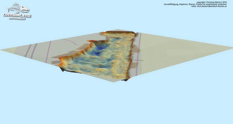 Bucht M1 3D Karte by gofishing – Aufsicht Seite west west