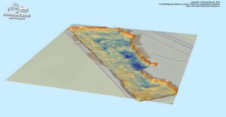 Bucht M1 3D Karte by gofishing – Aufsicht ost